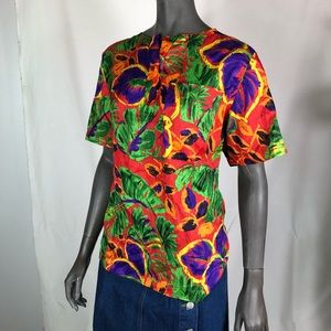 Vintage polyester loose fitting tropical bouse